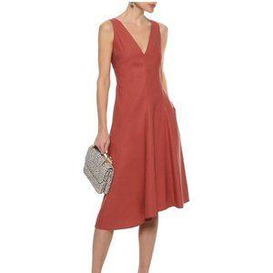 Theory Papya Linen V-Neck Dress